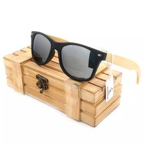 Other - Bobo Bird Bamboo Wood Sunglasses w/ Silver Lenses